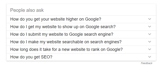 people also ask search results snippet to get fast rankings