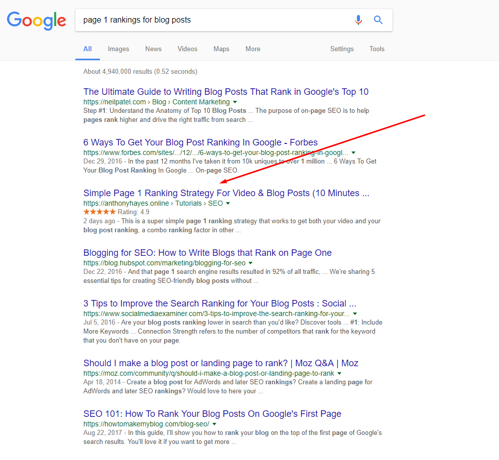how to rank for competitive keywords example 3