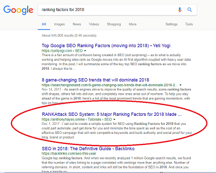 SEO case study - page one rankings with 30 seconds work