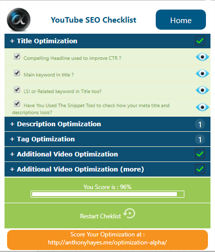 YouTube SEO Checklist Chrome Extension Screenshot