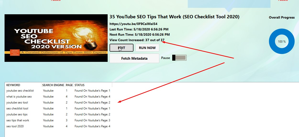 JUST 37 YOUTUBE.COM VIDEO VIEWS NEEDED TO RANK THESE KEYWORDS