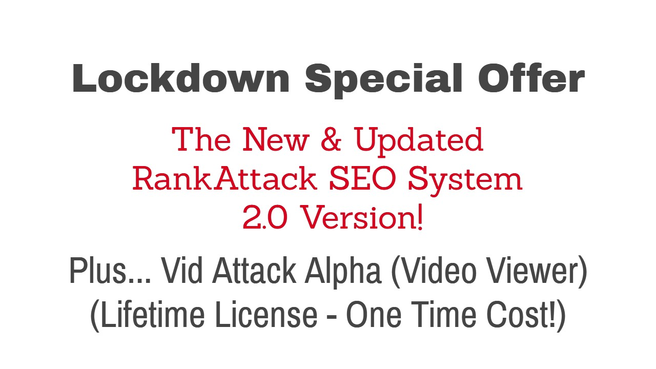 RankAttack SEO 2.0 (Lockdown Special Offer)